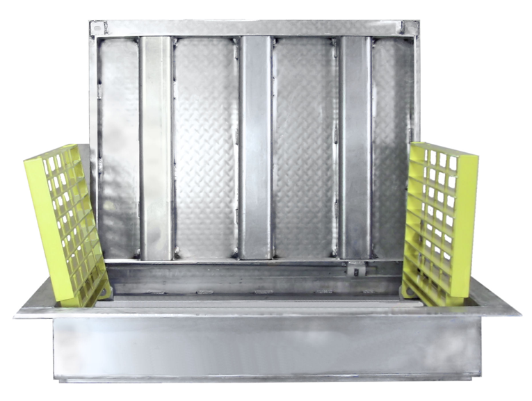 Wet wells of both type's sewage and storm water collection fall protection grates meet today's safety standards. Two pumps require two grates while single pumps require only a single grate.