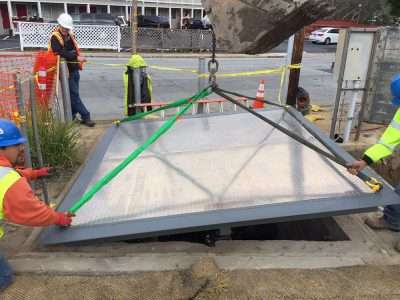 Monterey Install… Set vault access cover in place, open to verify, no fasteners required to attach. Close doors and go home!