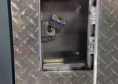 Upper view of recessed lock box for your pad lock.