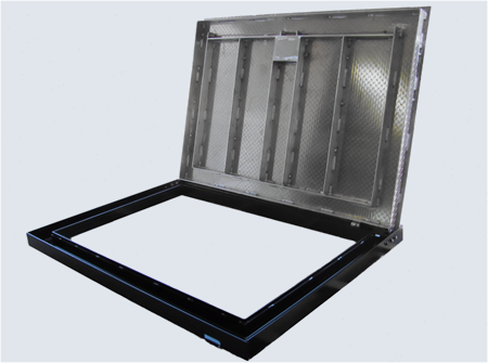 Side Outlet Frame collects all fluids and exist them out the side Keeping Vault area Dry.