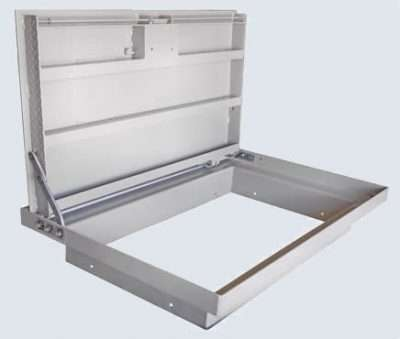 Pedestrian traffic rated fixture with recessed lock-box which secures the two remaining corners away from the hinges so that all four corners are attached. The two remaining corners are secured with 3/8-inch stainless steel spring loaded rods.